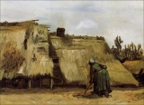 087.Peasant Woman Digging in Front of Her Cottage