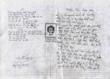 Bản chép tay của bài thơ Màu tím hoa sim có chữ ký của nhà thơ Hữu Loan